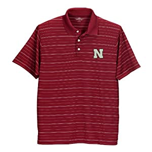 Nebraska Cornhuskers Pinstriped Performance Polo Red by Vantage