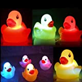 4 Pcs Baby Bath Toy Yellow Color Changing Duck LED Lighting Duck