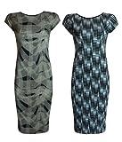 NEW WOMENS LINE AZTEC BLACK N WHITE CHECKED PRINT LADIES BODYCON MIDI MAXI DRESS