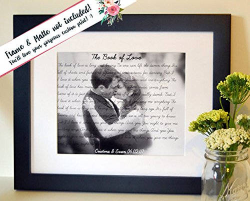 Wedding song lyrics art Anniversary gift for husband Birthday gift for ...