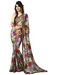 Aaina Women's Synthetic Saree (AN-039, Multicolor)