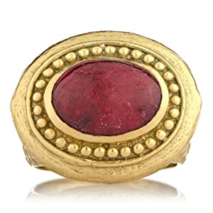 Salome's Gold Victorian Style Right Hand Ring - Ruby Size 8