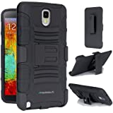 Maxboost Shell Holster Combo - Dual-Layer Protective Case for Samsung Galaxy Note 3 III with Kick-Stand Belt Clip Holster [Black]