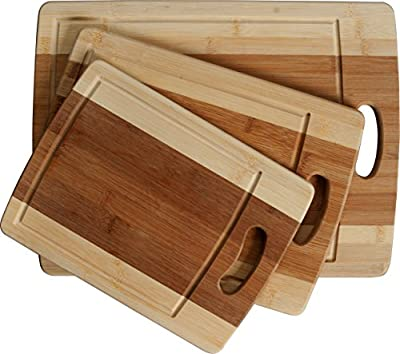 CC Boards - 3-Piece Bamboo Cutting Board Set: Three convenient wood sizes. Attractive two-tone wooden chopping boards made of eco-friendly bamboo. Durable for any kitchen, cheese board or serving tray