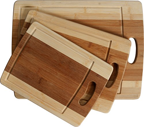 CC Boards 3-Piece Bamboo Cutting Board Set: Wooden butcher block boards with juice groove and handle; Slice veggies, bread or