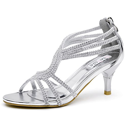 SHOEZY Womens Metallic Low Heels Sandals Rhinestones Evening Bridal Dress Party Shoes Silver US 11