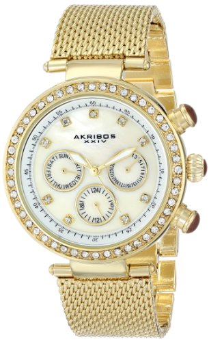Akribos XXIV Women's Lady Diamond Quartz Multifunction Crystal Mother-of-Pearl Gold-tone Stainless Steel Mesh Bracelet Watch