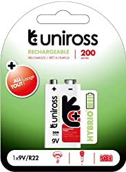 Uniross Hybrio Pre-charged 1 X 9v 200 Series Rechargeable Battery from Uniross
