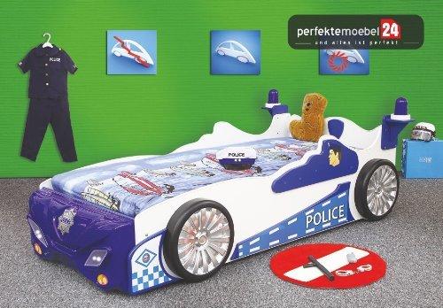POLICE Bett Autobett Kinderbett Polizeiwagen Spielbett inkl. Lattenrost und Matratze kurze Lieferzeit! inkl. LED Beleuchtung günstig kaufen
