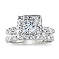 SuperJeweler Princess Cut 1ct Diamond Bridal Set in 14k White Gold