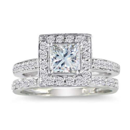 Princess Cut 1ct Diamond Bridal Set in 14k White
