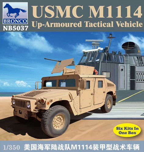 Bronco Models USMC M1114 Up-Armored Tactical Vehicle (Contains 6 kits), Scale 1/350 - 1