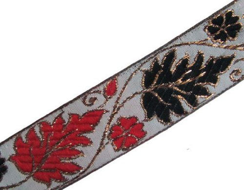 Jacquard Ribbon Trim Red Black White Leaf Pattern 3 Yd Border