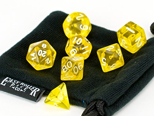 Polyhedral Dice Set Yellow Translucent | 7 Piece | PRISTINE Edition | FREE Carrying Bag | Hand Checked Quality | Money Back Guarantee