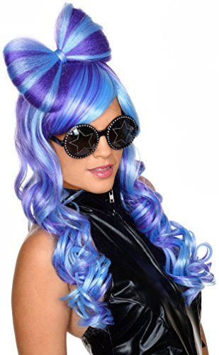 Popcandy Bow This Way Wig Blue/Purple Rave Wig Popstar Wig Diva Wig 52895