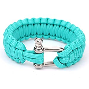 550 Parachute Cord Military Survival Bracelets Stainless Steel Shackle Bangles (Acid Blue)HW055