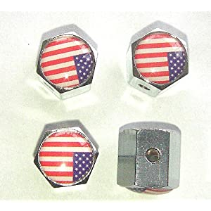 United States Usa Flag Anti-theft Car Wheel Tire Valve Stem Caps