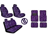 Premium New Style Purple Zebra 15pc Low Back Front Seat Covers, Bench Seat Cover with Head Rest, Steering Wheel Cover with Shoulder Pads, 4pc Front and Back Floor Mats