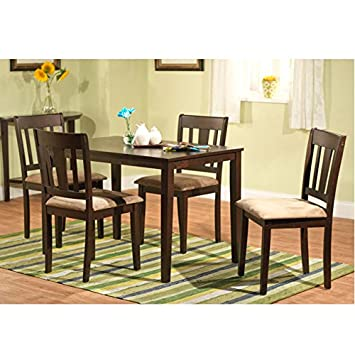 Harcourt Dining Table Set for 4, Made with Durable Rubber Wood, Includes 4 Upholstered Chairs