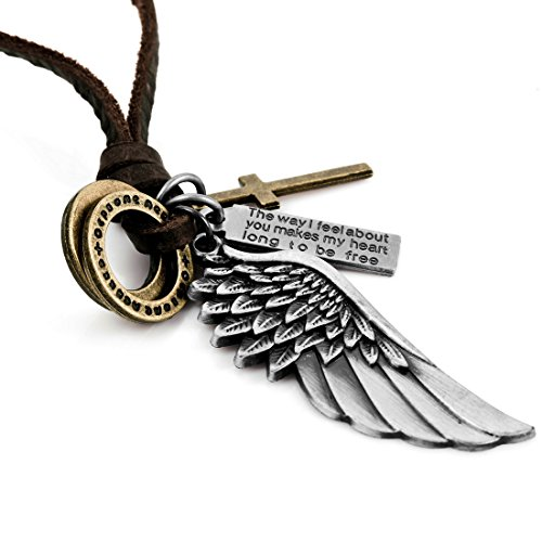 Men's Alloy Genuine Leather Pendant Necklace Silver Gold Cross Angel Wing Vintage 16~26 Inch Chain by INBLUE Jewelry