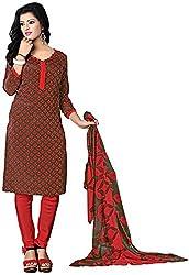K.K BROTHERS Women's Crepe Dress Material (Brown)