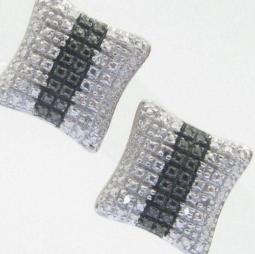 Mens 925 Sterling Silver earrings fancy stud hoops huggie ball fashion dangle white black stripe square pave earrings