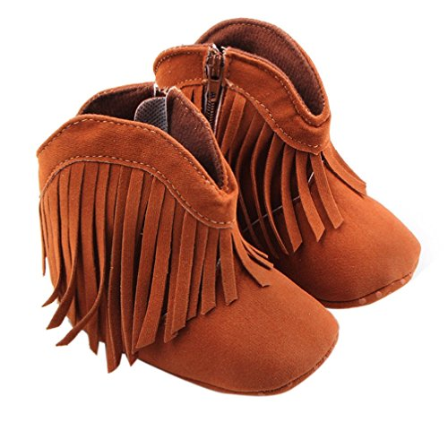 Binmer(TM) Infant Newborn Baby Girl Toddler Shoes Soft Sole Boots Prewalker Tassel (6~12 Month, Brown)