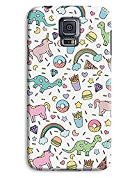 Donuts & Dinosaur Kids Design 3D Printed Design Galaxy S5 Hard Case Protective Cover Shell