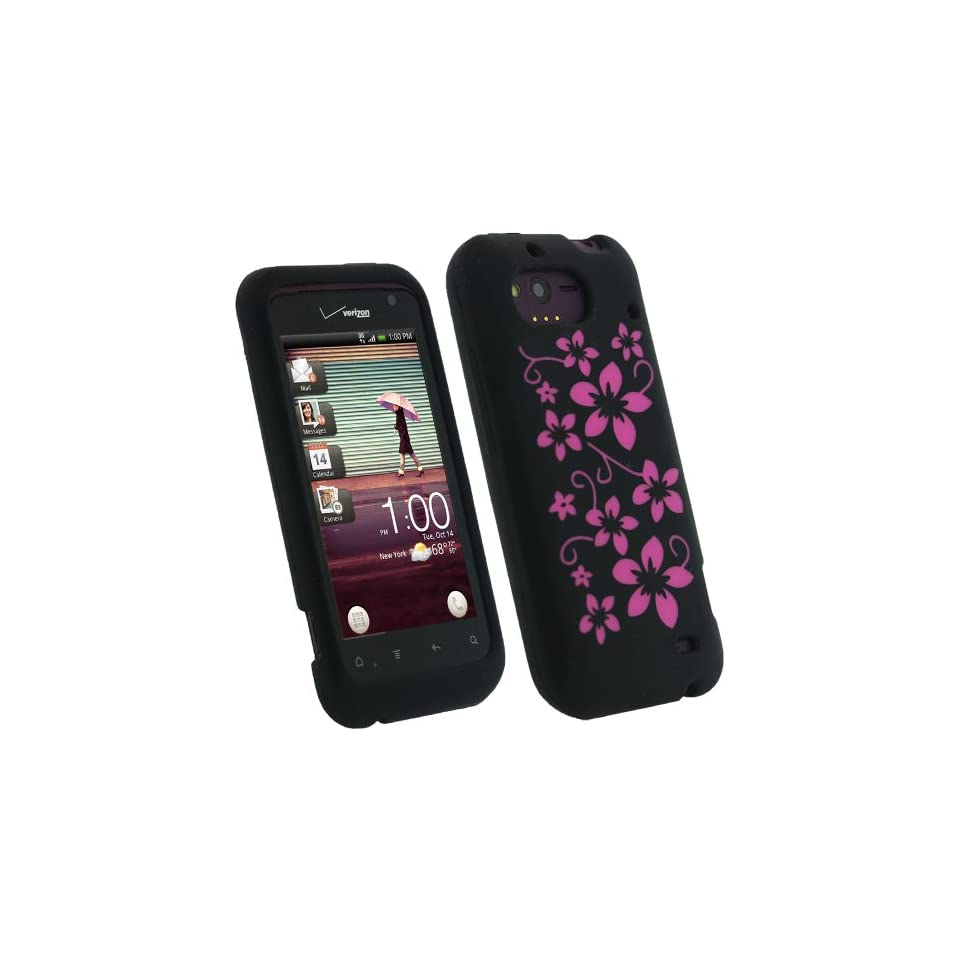 igadgitz Black & Pink Flowers Silicone Skin Case Cover for HTC Rhyme Android Smartphone Cell Phone + Screen Protector