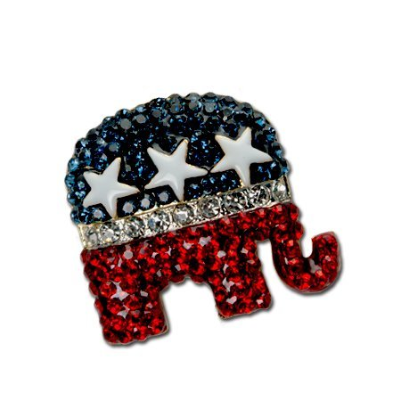 Crystal Republican Logo Pin/Brooch