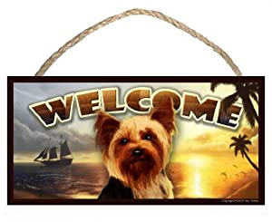 Yorkshire Terrier (Yorkie) Summer Season 10 x 5 Welcome Dog Sign / Plaque featuring the art of Scott Rogers