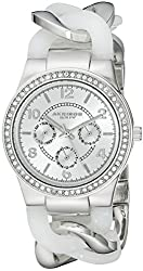 Akribos XXIV Women's AK562WT Crystal Accented Watch with White Resin and Silver-Tone Link Bracelet