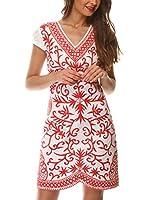 Almatrichi Vestido Charlie (Blanco / Coral)
