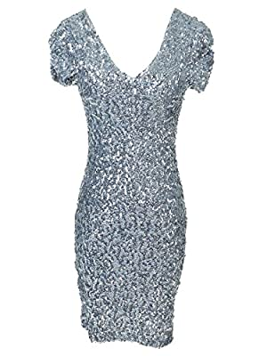 Vijiv Women's 1920s Style Dresses Stretch Short Sleeve Sequin Dress