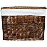 WoodLuv Large Wicker Basket Storage Chest Trunk Hamper with Cloth Lining, Brown