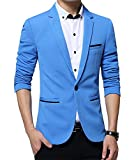 Benibos Men's Slim Fit Casual Premium Blazer Jacket (L, Light Blue)