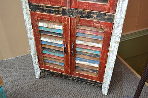 Crafters and Weavers Rustic Distressed Reclaimed Wood Curio, Glass Cabinet /Bookcase /Hutch 2