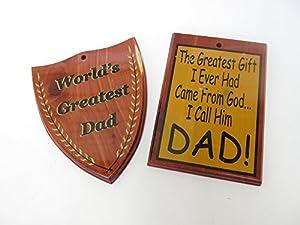 2 Decorative Wooden Cedar World's Greatest Dad Plaque