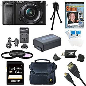 Sony a6000 ILCE6000LB ILCE-6000L/B ILCE6000 Alpha a6000 24.3 Interchangeable Lens Camera with 16-50mm Power Zoom Lens BUNDLE with 32GB Class 10 Card, Spare Battery, Deluxe Padded Case, DVD SLR Guide, SD Card Reader, and MORE