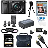 Sony a6000 ILCE6000LB ILCE-6000L/B ILCE6000 Alpha a6000 24.3 Interchangeable Lens Camera with 16-50mm Power Zoom Lens BUNDLE with 64GB Class 10 Card, Spare Battery, Deluxe Padded Case, DVD SLR Guide, SD Card Reader, and MORE