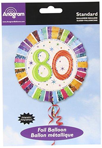 "Anagram International Radiant Birthday 80 Balloon, 18"", Multicolor"