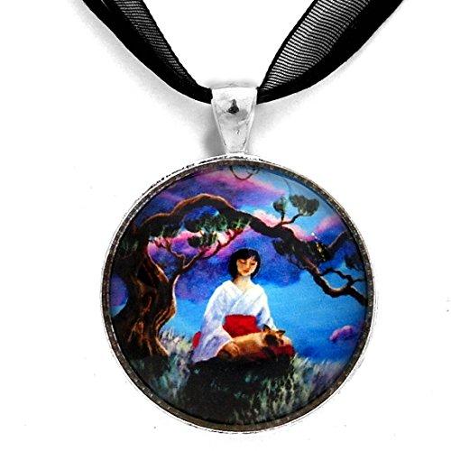 japanese-woman-and-siamese-cat-miko-meditation-handmade-art-pendant