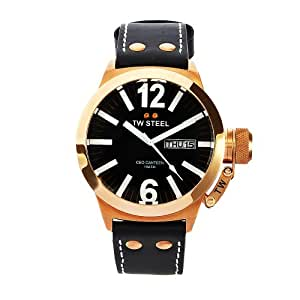 TW Steel Men's CE1021 CEO Canteen Black Dial Leather Watch