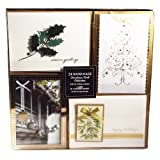 Christmas Card Collection - 24 Handmade Christmas Cards With Self-Sealing Envelopes, 4 Different Designs, Golden Holiday Greetings Collection