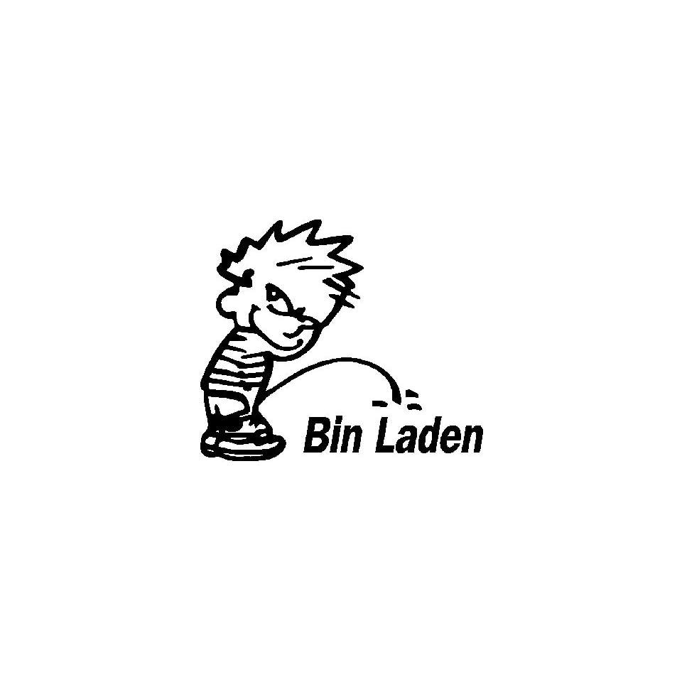 Calvin peeing on bin laden vinyl decal white