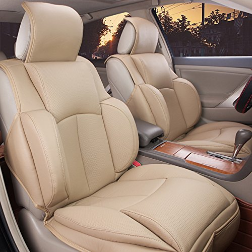 Oroyal Universal Fit Car Seat Cover Set Top Grade PU Leather Comfortable Simple Design (Universal Fit For Most Cars, SUV, Trucks or Vans) (Beige) (06 Ford Seat Covers compare prices)
