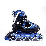 MammyGol Adjustable Inline Skates for Kids, Rollerblades Girls Boys with Light up Wheels Size 5 - 8 (Black & Blue)