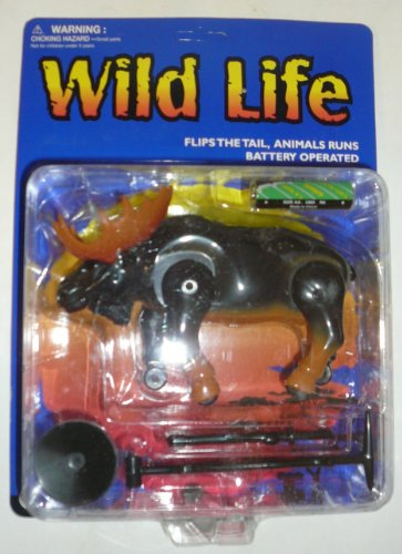 Wild Life Battery Operated Moose Toy That Flips Tail and Runs