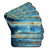 Rusty Blue Set Of 4 Premium Wooden Coasters