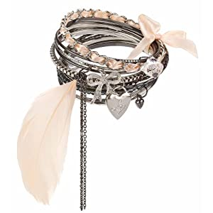 Lipsy Feather Bangle stack